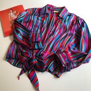 True 80's Vintage Cache 100% Silk Striped Blouse